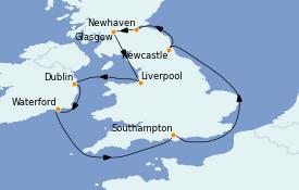 Itinéraire de la croisière Îles Britanniques 11 jours à bord du MS Sirena