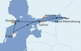 Itinéraire de la croisière Mer Baltique 8 jours à bord du Jewel of the Seas