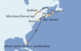 Itinéraire de la croisière Canada 10 jours à bord du ms Amsterdam