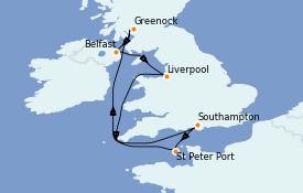 Itinéraire de la croisière Îles Britanniques 8 jours à bord du Queen Elizabeth