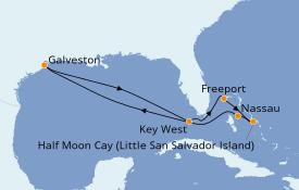 Itinéraire de la croisière Bahamas 9 jours à bord du Carnival Freedom