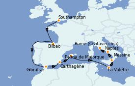 Itinéraire de la croisière Méditerranée 13 jours à bord du Island Princess