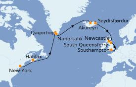 Itinéraire de la croisière Îles Britanniques 17 jours à bord du Island Princess