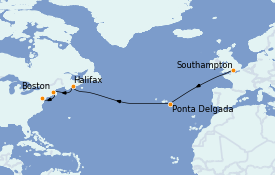 Itinéraire de la croisière Transatlantiques et Grands Voyages 2022 13 jours à bord du Anthem of the Seas