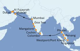Itinéraire de la croisière Inde 19 jours à bord du Seven Seas Mariner