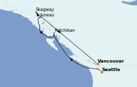 Itinéraire de la croisière Alaska 8 jours à bord du Discovery Princess