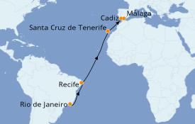 Itinéraire de la croisière Transatlantiques et Grands Voyages 2021 13 jours à bord du MSC Sinfonia
