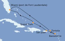 Itinéraire de la croisière Caraïbes de l'Est 9 jours à bord du Caribbean Princess