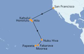 Itinéraire de la croisière Polynésie 19 jours à bord du Seven Seas Mariner