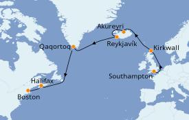 Itinéraire de la croisière Transatlantiques et Grands Voyages 2021 15 jours à bord du Celebrity Summit