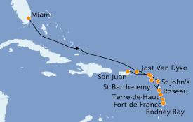 Itinéraire de la croisière Caraïbes de l'Est 13 jours à bord du Seabourn Sojourn