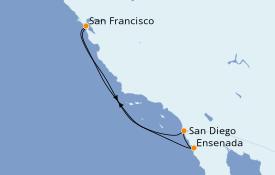 Itinéraire de la croisière Californie 6 jours à bord du Grand Princess