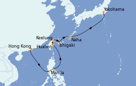 Itinéraire de la croisière Asie 11 jours à bord du Queen Elizabeth
