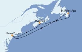 Itinéraire de la croisière Canada 6 jours à bord du Sky Princess
