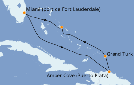Itinéraire de la croisière Caraïbes de l'Est 7 jours à bord du Carnival Sunrise