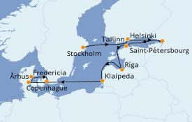 Itinéraire de la croisière Mer Baltique 14 jours à bord du Jewel of the Seas