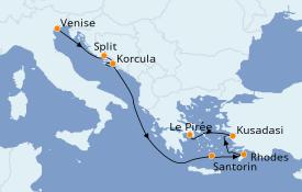 Itinéraire de la croisière Grèce & Adriatique 8 jours à bord du ms Westerdam