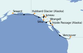 Itinéraire de la croisière Alaska 8 jours à bord du Silver Whisper