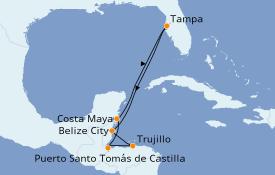 Itinéraire de la croisière Caraïbes de l'Ouest 8 jours à bord du ms Veendam