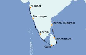 Itinéraire de la croisière Inde 13 jours à bord du Le Bellot