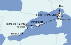 Itinéraire de la croisière Méditerranée 9 jours à bord du Le Lyrial