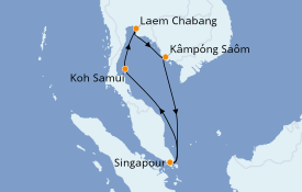 Itinéraire de la croisière Asie 8 jours à bord du Costa Fortuna