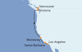 Itinéraire de la croisière Californie 7 jours à bord du Seabourn Odyssey