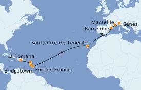 Itinéraire de la croisière Transatlantiques et Grands Voyages 2019 17 jours à bord du Costa Favolosa
