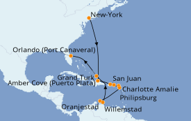 Itinéraire de la croisière Caraïbes de l'Est 16 jours à bord du Carnival Mardi Gras