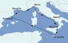 Itinéraire de la croisière Méditerranée 8 jours à bord du MSC Seashore