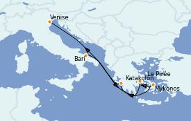 Itinéraire de la croisière Grèce & Adriatique 7 jours à bord du MSC Poesia