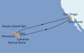 Itinéraire de la croisière Hawaii 18 jours à bord du ms Koningsdam