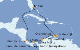 Itinéraire de la croisière Caraïbes de l'Est 13 jours à bord du Norwegian Joy