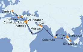 Itinéraire de la croisière Tour du Monde 2021 29 jours à bord du Island Princess