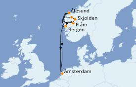 Itinéraire de la croisière Fjords & Norvège 9 jours à bord du Celebrity Reflection