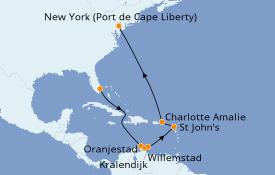 Itinéraire de la croisière Caraïbes de l'Est 13 jours à bord du Adventure of the Seas