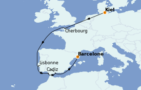 Itinéraire de la croisière Méditerranée 12 jours à bord du MSC Seaview