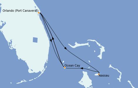 Itinéraire de la croisière Bahamas 6 jours à bord du MSC Divina