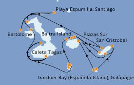 Itinéraire de la croisière Îles Galapagos 12 jours à bord du Silver Origin