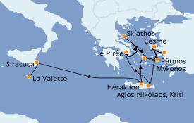 Itinéraire de la croisière Grèce & Adriatique 15 jours à bord du Seabourn Encore