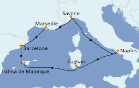Itinéraire de la croisière Méditerranée 8 jours à bord du Costa Toscana