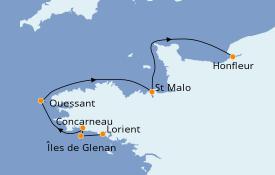 Itinéraire de la croisière Atlantique 8 jours à bord du L'Austral