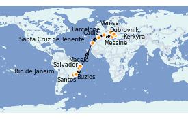 Itinéraire de la croisière Transatlantiques et Grands Voyages 2022 22 jours à bord du MSC Sinfonia