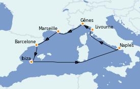 Itinéraire de la croisière Méditerranée 8 jours à bord du MSC Splendida