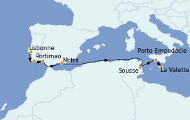Itinéraire de la croisière Méditerranée 11 jours à bord du Silver Cloud Expedition