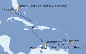 Itinéraire de la croisière Caraïbes de l'Est 9 jours à bord du Silver Moon