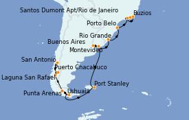 Itinéraire de la croisière Amérique du Sud 27 jours à bord du Seven Seas Voyager