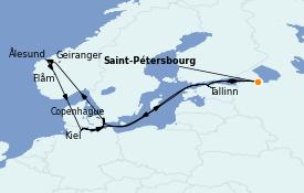 Itinéraire de la croisière Mer Baltique 15 jours à bord du MSC Grandiosa