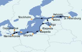 Itinéraire de la croisière Mer Baltique 11 jours à bord du MS Marina