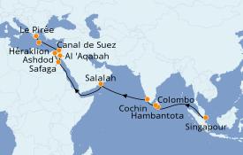 Itinéraire de la croisière Mer Rouge 25 jours à bord du Azamara Pursuit